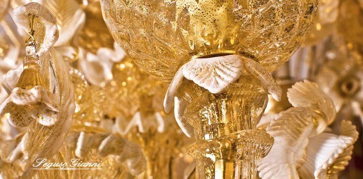 Murano Glass - a part of a gold chanderlier  #yourmurano #seguso #muranoglass #chanderlier #gold #goldleaf #lighting #particular