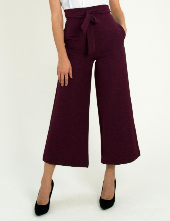 Γυναικείο μπορντό παντελόνι ζιπ κιλότ υφασμάτινο 1175778  2d1614f7b9a