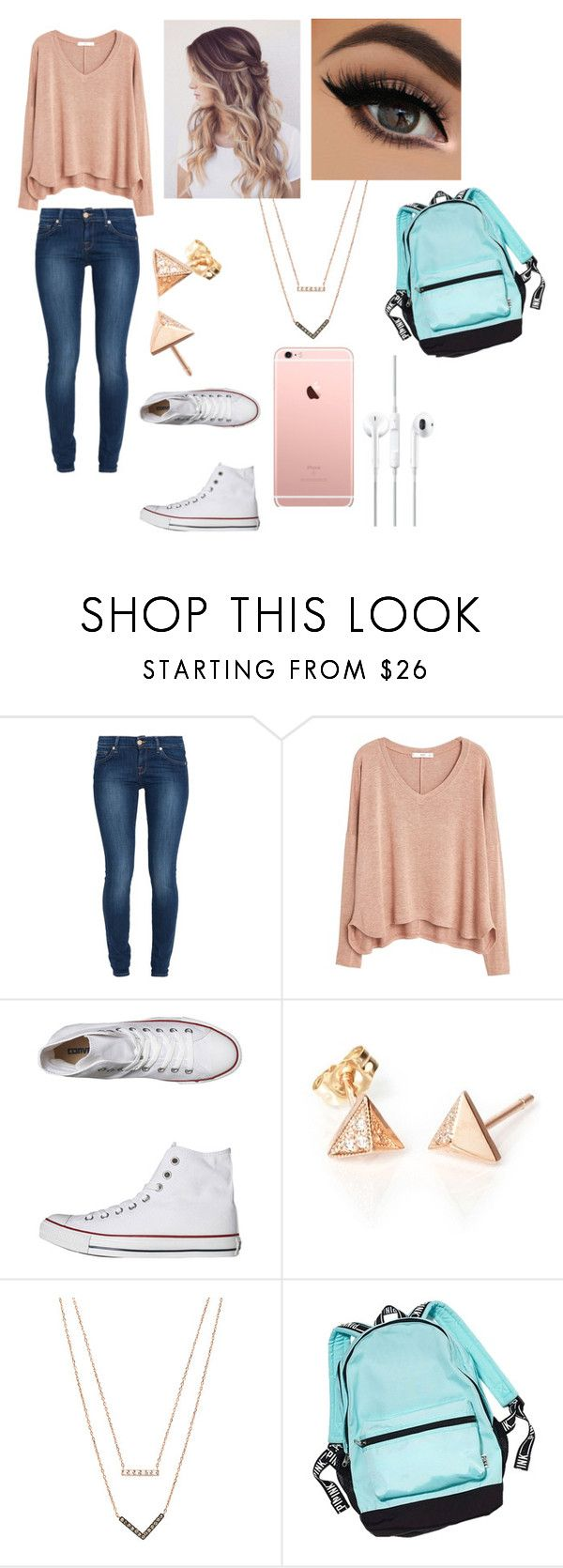 """School outfit"" by imaray98 ❤ liked on Polyvore featuring 7 For All Mankind, MANGO, Converse, Michael Kors, women's clothing, women's fashion, women, female, woman and misses"