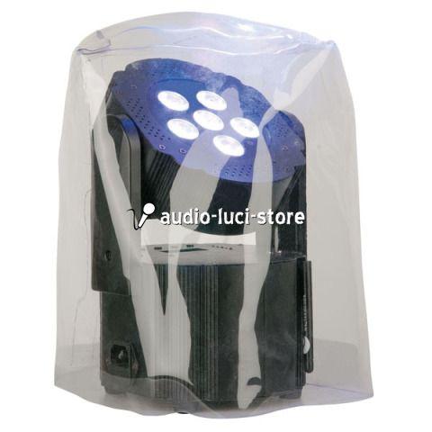 Copertura antipioggia trasparente per faro a batteria ricaricabile Showtec per assicurare che polvere o acqua non entrino in contatto con l'apparecchio