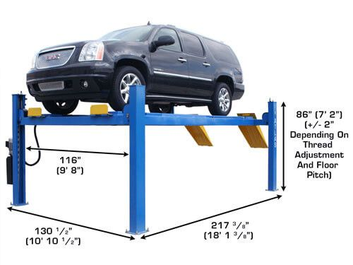 The Atlas® 414A 14,000 pound capacity four post lifts are designed and built to commercial grade standards and will provide many years of service. Our Atlas® alignment lifts offer many exclusive features not found on many other competitor's lifts.