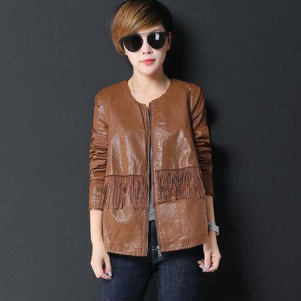 Осень, чем весенние женские куртки случайные мыть пу кожаный пиджак женский мотоцикл сизигия Lynx 16091935-tmall.com