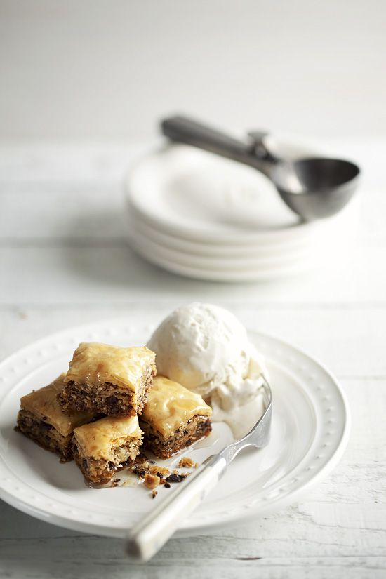 Chocolate Hazelnut Baklava with Cardamom Honey Syrup NYOM NYOM NYOM Hit link for recipe