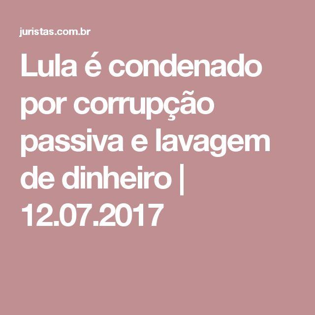 Lula foi condenado pelos crimes de corrupção passiva e lavagem de dinheiro pela acusação de ter sido beneficiado com um tríplex em um condomínio em Guarujá (SP). Moro acatou a denúncia do MPF na qual, segundo a acusação, o ex-presidente recebeu propina por conta de três contratos firmados entre a empreiteira OAS e a Petrobras, entre 2006 e 2012. Na sentença, o juiz também determinou que Lula pague multa de R$ 669,7 mil.
