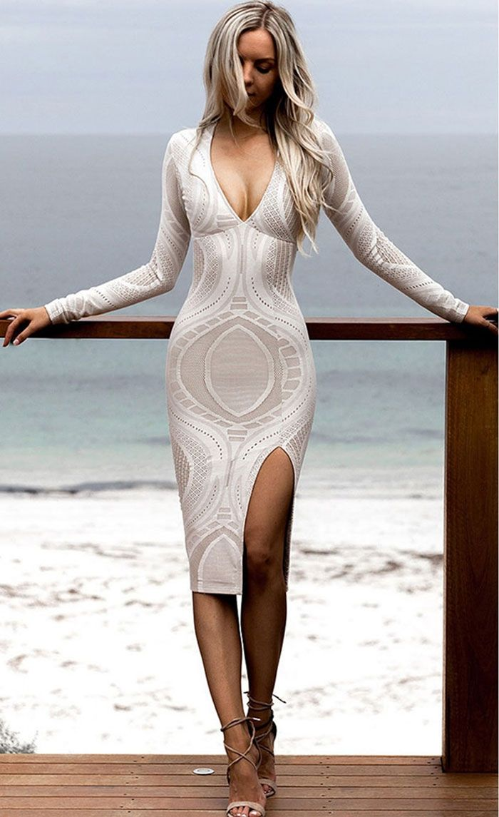 Sukienka midi biało beżowa rozporek