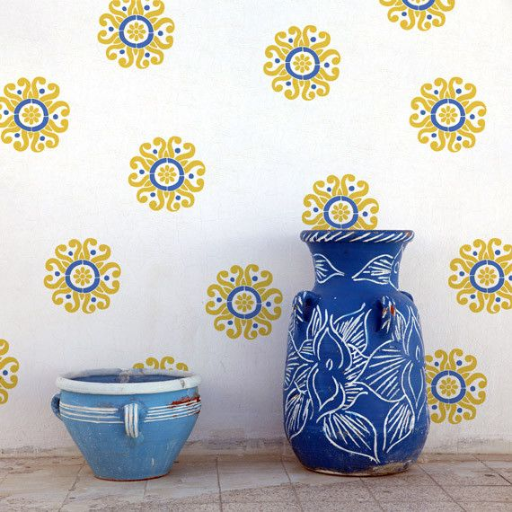 Sun Flower Moroccan Wall Art Stencil, paint the floor blue, use these interspersed