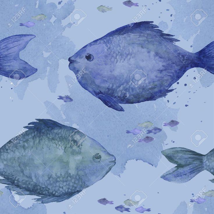 Pesce Azzurro Acquerello Seamless. Monochrome Seamless Con I Pesci Di Acquerelli…