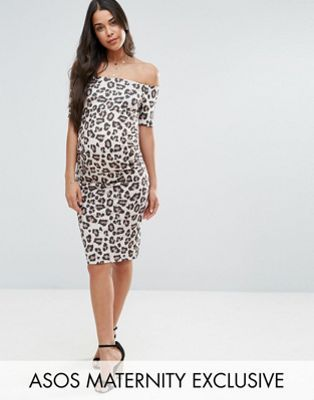 ASOS Maternity Off Shoulder Bardot Dress In Leopard Print