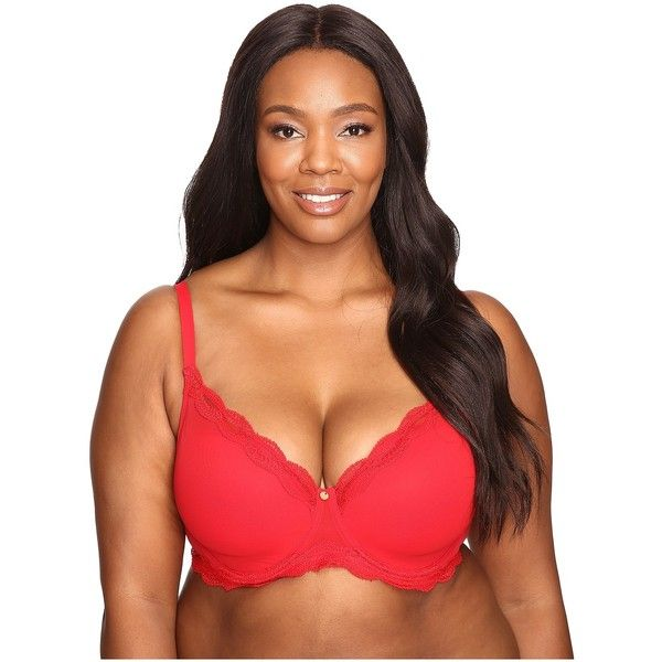 Natori Pure Allure Full Figure Contour Underwire Bra 736099 (Real Red)... ($70) ❤ liked on Polyvore featuring intimates, bras, underwire bra, adjustable bra, natori bras, red bra and full figure bras