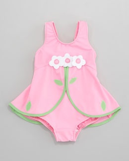 -468A Florence Eiseman Pink Flower Skirted One-Piece Swimsuit