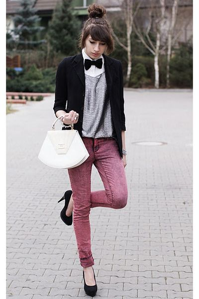 Silver blouse and bow-tie