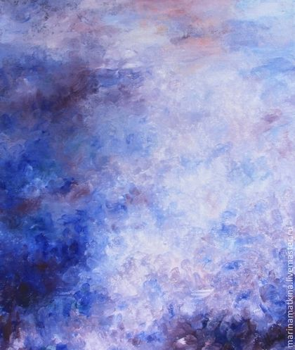 Фиолетовое небо - картина маслом на холсте, абстракция, сиреневый - картина маслом