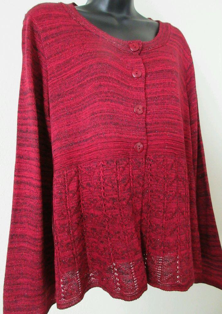 Ladies Long Sleeve Glitter Red- Black Cardigan Sweater Size L Christopher Banks #ChristopherBanks #Cardigan