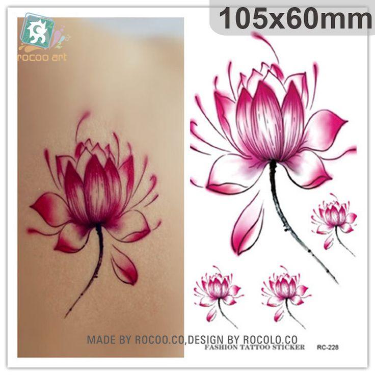 Боди-Арт водонепроницаемый временные татуировки для мужчин и женщин Простой 3d красный цветок лотоса татуировки наклейки Оптовая RC2228
