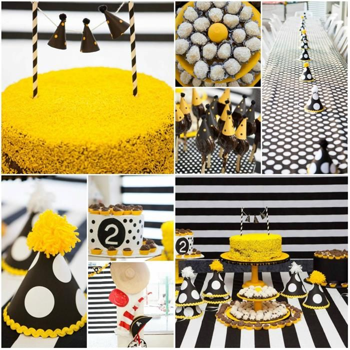 Black Yellow Modern Hat Party Planning Ideas Supplies Idea Cake