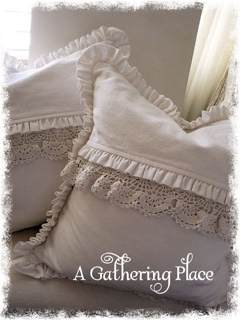INSPIRATION: simple white cotton pillows trimmed with vintage lace
