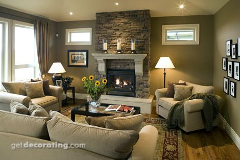 I like the little horizontal windows on either side of the fireplace too. Overall look of this room is cozy.