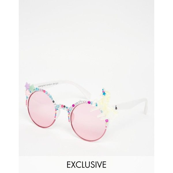 Spangled Unicorn Sunglasses in White (811.960 IDR) ❤ liked on Polyvore featuring accessories, eyewear, sunglasses, whitepink, acrylic glasses, lightweight sunglasses, uv protection glasses, embellished sunglasses and uv protection sunglasses
