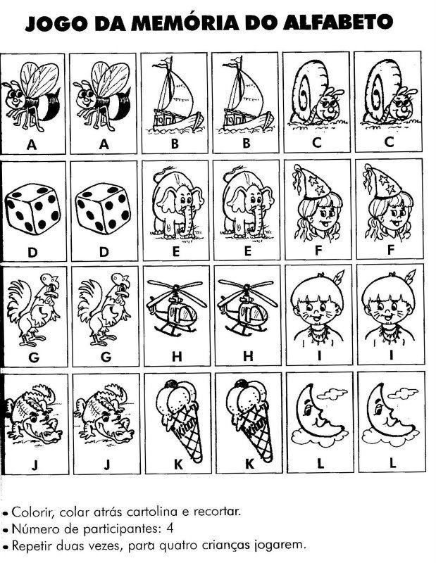 Jogo da Memória para colorir e imprimir - Mundinho da Criança - Atividades para Educação Infantil