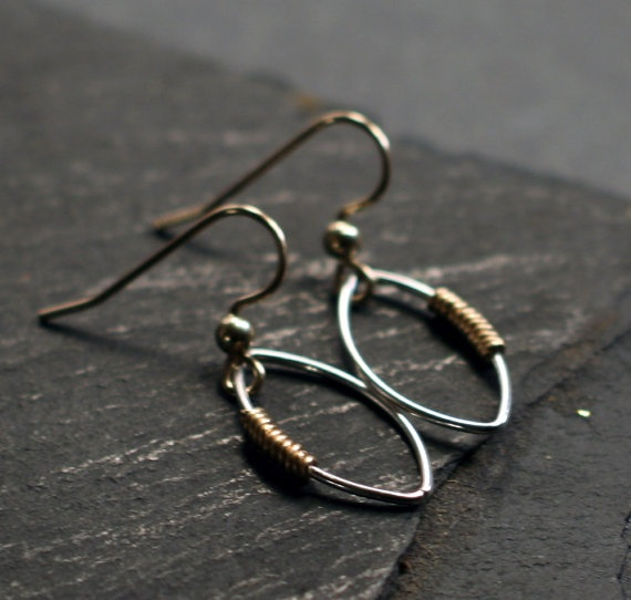 mixed metal jewelry mixed metal marquise minimalist earrings medium size jewelry making and. Black Bedroom Furniture Sets. Home Design Ideas