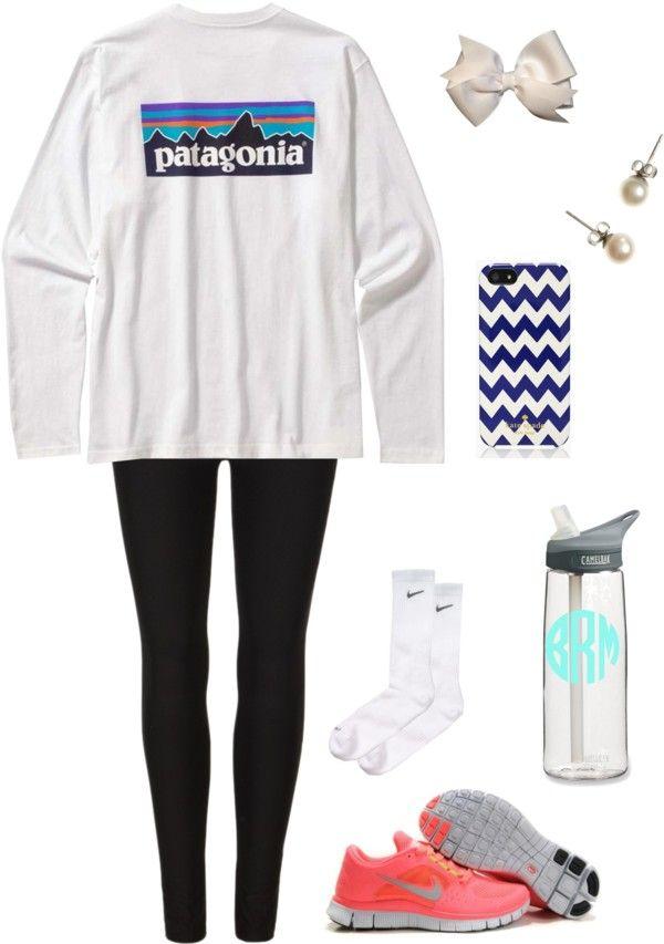 southernbombshell23: Comfy Fall by carolinejones864 featuring black leggings ❤ liked on PolyvoreAllSaints black legging, $55 / J.Crew j crew jewelry / Kate Spade tech accessory / Hair bow / Men's Long-Sleeved Patagonia P-label T-shirt / Nike Dri-FIT Crew Socks (3-Pack) (Men) (Online Only) / CamelBak eddy Water Bottle 25 fl. oz.