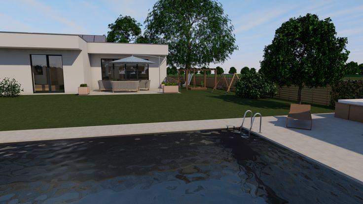Modern, 5 szobás, 229 m2-es földszintes családi ház mintaterve, alaprajzzal A környék itt még nincsen beépítve.