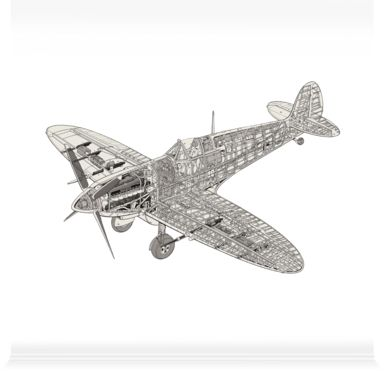 Wall Stickers of White Spitfire by Haynes Manuals (1840mm x 1200mm)   Shop   Surface View
