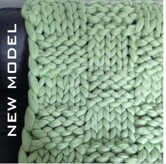 Chunky Knit Blanket Merino Wool Blanket Huge Knitting by Merrisson