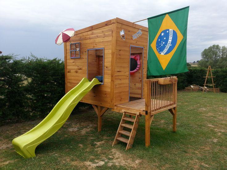 19 best Cabanes Bois pour Enfants images on Pinterest For kids - Maisonnette En Bois Avec Bac A Sable