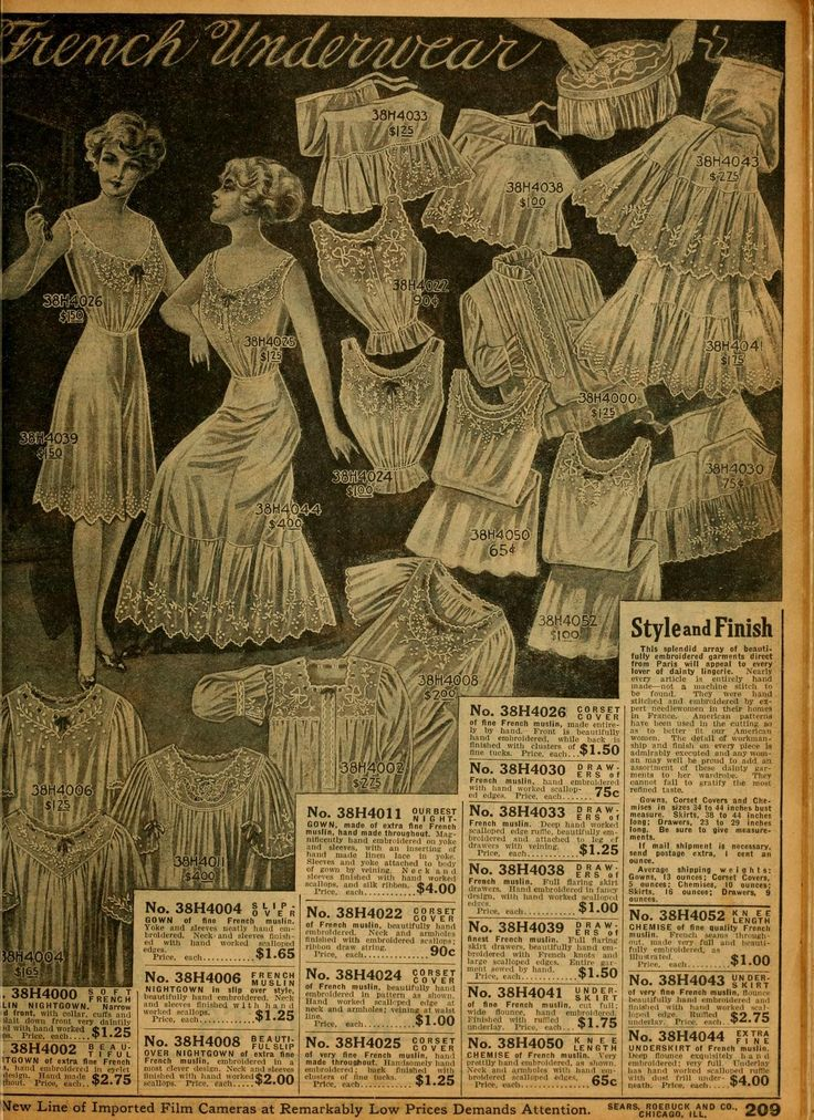 Hand embroidered French underwear from 1912 Sears catalog.