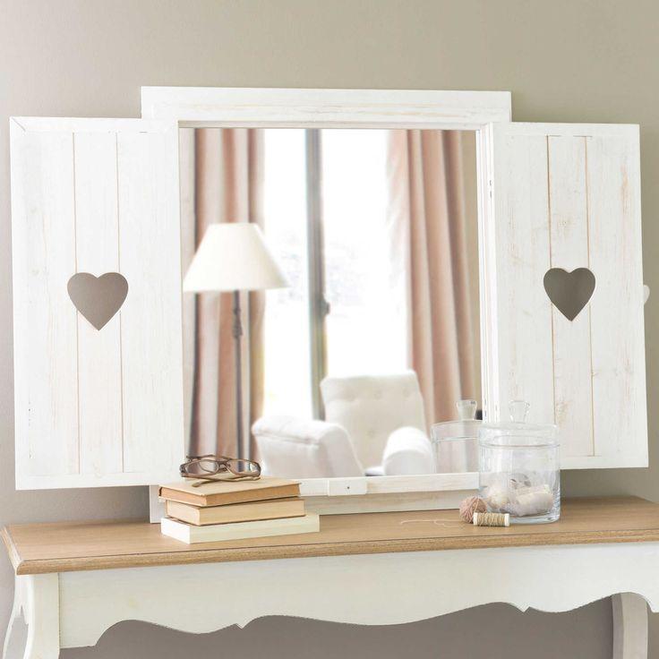 Espejo ventana con corazones de madera blanqueada Al. 71 cm LUCY