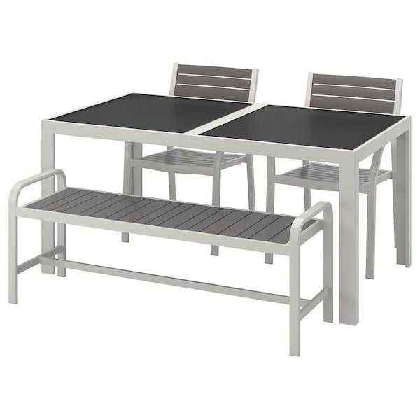Ikea Panchine Da Giardino.Sjalland Tavolo 2 Sedie Panca Da Giardino Vetro Grigio Grigio