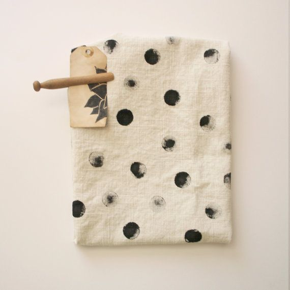 Polka Dot Towels - Hand Printed Tea Stained Dish Towel - Chevron - Polka Dot - Black - Tan - Rustic - Desert - arrow on Etsy, $16.50