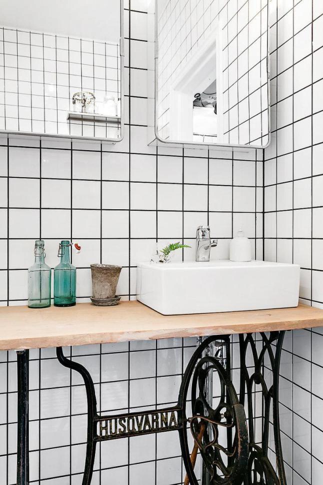 Recycler une ancienne machine à coudre en meuble vasque