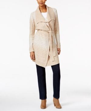 Style & Co Petite Belted Space-Dyed Wrap Cardigan, Only at Macy's - Tan/Beige P/XL