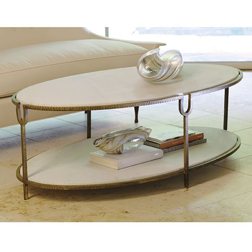 """52"""" X 30"""" x 18""""h  Iron and Stone Oval Coffee Table"""