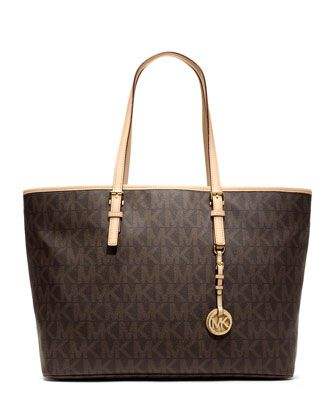 Love my black MK want the brown one!  Jet Set Multifunction Logo Travel Tote by MICHAEL Michael Kors at Neiman Marcus.