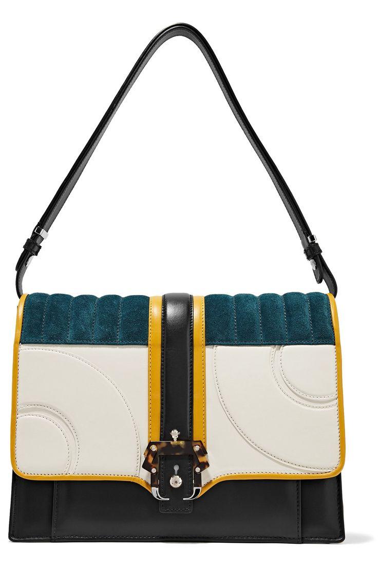 Paula Cademartori Caroline color-block leather and suede shoulder bag