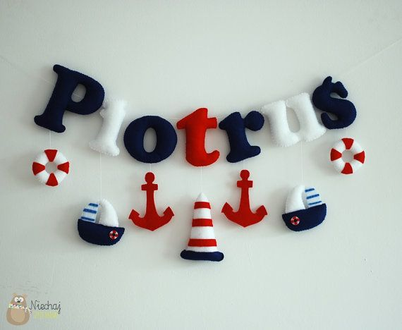 Name banner for nursery nautical felt by SewManUniverseMaster