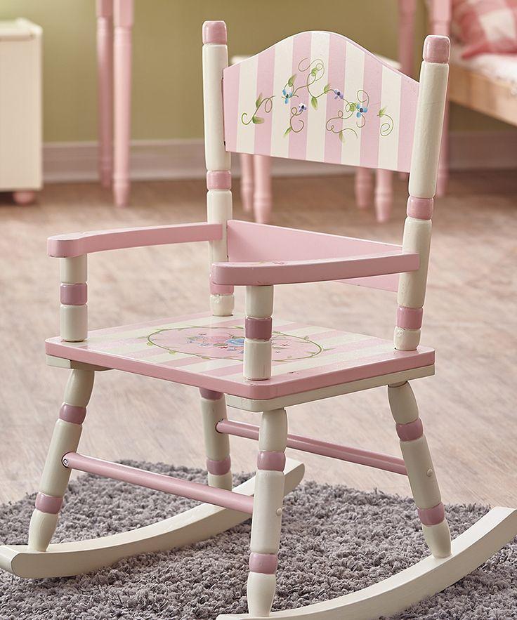 Pink & White Rocking Chair