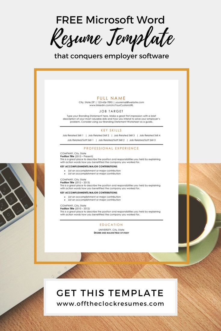 Pass Applicant Tracking software (ATS) with this modern and one of our most popular resume designs! Download this free, Microsoft Word resume template from Off The Clock Resumes today | Resume Tips