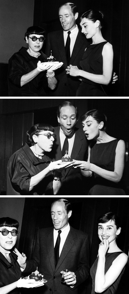 October 28, 1956: Audrey Hepburn and Mel Ferrer celebrate Edith Head's 59th birthday.