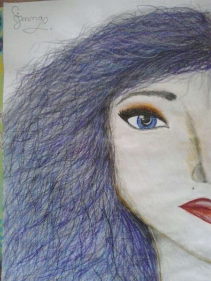 Half face#colour#pencil#by hand