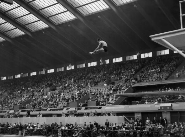 Team GB diver Peter Heatly competing in the Men's Highboard Diving event at the Empire Pool, Wembley during the London Olympics, 1948.