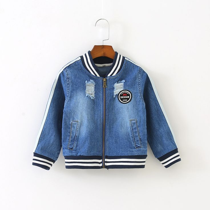 ==> [Free Shipping] Buy Best Fashion Jean Boys Jacket Children Clothing Boy Bomber Jackets Denim Kids Clothes Outerwear Zipped Striped Pockets Spring Autumn Online with LOWEST Price | 32794789536