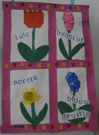 Juf Joyce - lentebloemen - woorden er bij stempelen