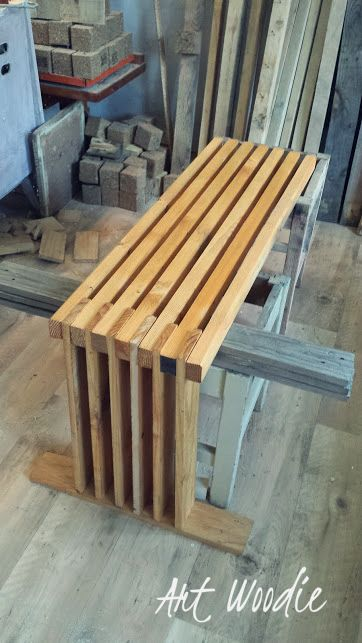 Bench made from recycled timber. It's in the production process.