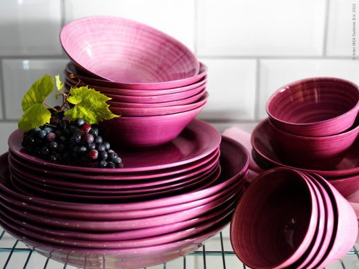 """blueberries and milk"" pink dishes and bowls. Ebba Strandmark for IKEA"