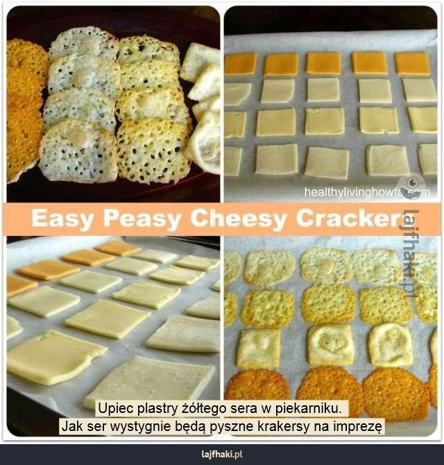 Krakersy z sera - Upiec plastry żółtego sera w piekarniku.  Jak ser wystygnie będą pyszne krakersy na imprezę