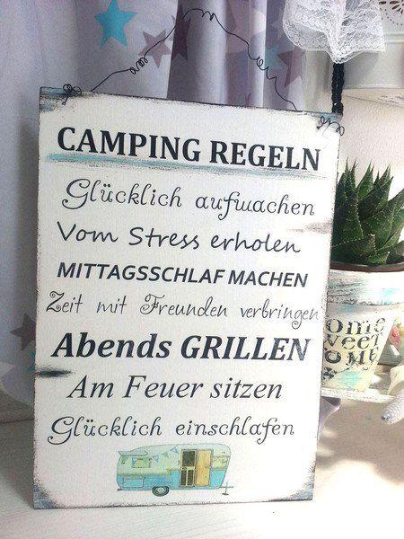 Tür- & Namensschilder - Camping Regeln Schild Wohnwagen - ein Designerstück von dandelion_make_a_wish bei DaWanda